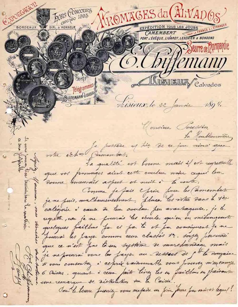 Lettre Chiffemann Eusèbe Poussin