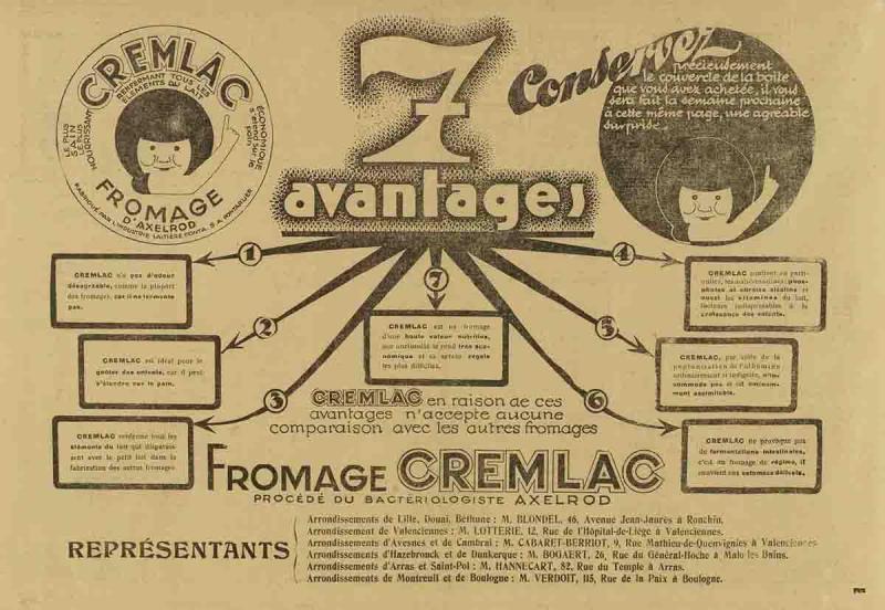 Pub Cremlac de novembre 1931 fromage Axelrod
